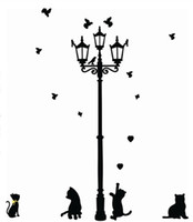Decorazione domestica adesiva 3 Piccolo gatto sotto lampada stradale DIY animale Wall Sticker Wallpaper Decalcomania murale camera