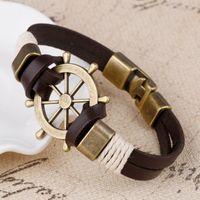 Wholesale Vintage Bangle Cuff Wrap - Wholesale Cuff braided Wrap Bracelet & Bangles Men Jewelry Pirate Genuine Leather Anchor Bracelets Gifts Vintage Men's Jewelry