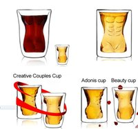 Wholesale Sexy Cups Glass - Creative, sexy Muscle shaped beer glass Naked woman Whisky glass Heat-resisting cup 160ml and 180ml