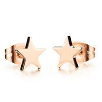 ingrosso orecchini a stella dorata-Orecchini a stella Star Fashion Gioielli in titanio Orecchini in acciaio placcato oro rosa Elegante per donna Regalo di Natale per ragazze