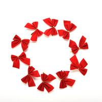 Wholesale wholesale plastic bow supplies - Wholesale-12Pcs Christmas Tree Bow Decoration Baubles New Year Ornaments Santa Claus Christmas Decoration Supplies XMAS Party Bows