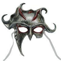 Barato Máscara De Homem Do Diabo-25 * 32Cm Halloween Party Face Mask Men Use PVC Máscaras Diabo Apollo Half Face Hiding Halloween Face Mask Cores de seda dourada