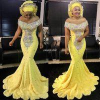 noiva amarela veste vestidos de noite venda por atacado-Mulheres amarelas Vestido de Noite Formal Sereia de Luxo Árabe Beads Lace Cap Mangas 2019 Plus Size Vestidos Formais Mãe dos Vestidos de Noiva