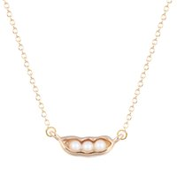 Wholesale Ordering Food - 10pcs lot Gold Silver Women Food Pea Pod with Pearl Pendant Statement Jewelry Collier Femme My Orders Best Friend Gift