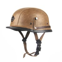 Wholesale Leather Helmets Goggles - DOT Approved Retro Leather Motorcycle Helmet WWII Big German Hlaf Helmet Motorbike Casco With Goggles For Harley Rider