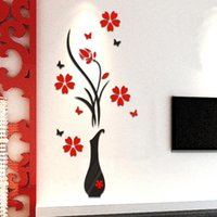 Wholesale Happy Tree Sticker - Wholesale- Happy Gifts Living Room Bedroom Home Decorate DIY Vase Flower Tree Crystal Arcylic 3D Wall Stickers Decal Home Decor