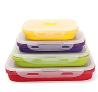 Wholesale Camping Food Containers - 4Pcs Set Foldable Silicone Lunch Boxes Food Storage Containers Household Food Fruits Holder Camping Road Trip Portable Houseware