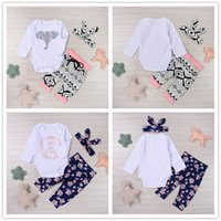 Wholesale Elephant Romper - 2017 New Trendy Baby Clothes Suit Lovely Letters Elephant Romper Retro Flower Long Pants Hairband 3pcs Geometirc Butterfly Kids Mikrdoo Sets