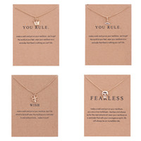 Wholesale Gold Plated Crown Charms - Luxury Brand Dogeared women Necklaces With card Gold Prince&Princess Crown Four Leaf Clover Skeleton Pendant Necklace For Fashion Jewelry