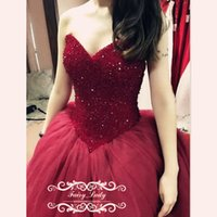 Wholesale Long Glittery Dresses - Glittery Major Beading Crystal Quinceanera Dresses For Girls Puffy Ball Gown Burgundy Tulle Long Sweetheart Lace Up Sweet 16 Pageant Party