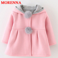 Wholesale Cute Winter Coats Hood - MORENNA Autumn Winter Baby Outwear Infants Girls Cute Rabbit Hooded Princess Jacket Coats Ball Christmas Gifts New Year Clothes