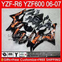 Wholesale Bodywork Yamaha R6 - 8Gifts 23Color Bodywork For YAMAHA YZF600 YZFR6 06 07 YZF-R600 59HM8 YZF R 6 06-07 YZF 600 YZF-R6 YZF R6 2006 2007 Fairing Graffiti orange