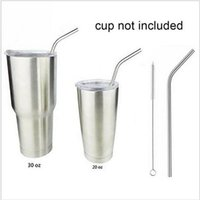 Wholesale Stainless Steel Straw Brush - Yeti Stainless Steel Bend Drinking Straw With Cleaning Brush For Tumbler Rambler Cups 30oz 20oz Durable Reusable Metal 1 Straw Add 1 Brush