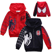 Wholesale Child Clothes Spider - Hooyi Spider Children Hoodies Jacket Sport Clothes Boys Spiderman Costumes Outfits Kids Hooded Sweatshirts Tops Baby Boy's Coat