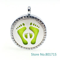"Wholesale Animal Print Essentials - XX039 ""Foot print"" Magnet Aromatherapy Essential Oil Stainless Steel Perfume Diffuser Locket Necklace with chain&pads Jewelry"