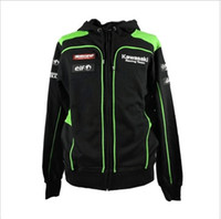 Wholesale Racing Motorbike Jacket - 2017 Racing Motocard Team Black Green Zip Up Hoodie Fleece MOTOGP Motorbike VR for Kawasaki Coat