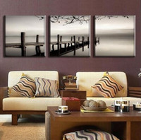 Wholesale 2017 New Set Modern Wall Paintings Grey ferry and river Canvas Prints Wall Pictures for Living Room Art on Canvas