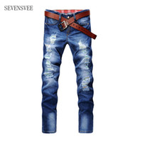 Wholesale Male Hip Hop Pants - Wholesale- 2017 Fashion Vintage Mens Ripped Jeans Pants Slim Fit Distressed Hip Hop Denim Joggers Male Novelty Streetwear Jean Trousers