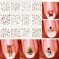 Wholesale Cute Nail Decals - 12 Sheet Christmas 3D Nail Art Stickers Snowflakes & Cute Snowmen Nail Decals