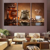 Wholesale Paint Spraying Machines - 3pcs set Coffee Machine Bean and Cup No Frame Wall Art Oil Painting On Canvas Life Paintings Picture Decor Living Room