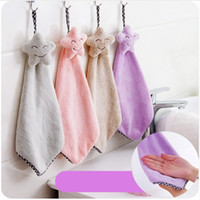 Wholesale Cotton Dishcloths Kitchen Towels - Lovely Stars Hand Towel Quick Dry Mosunx Busines Kitchen Cartoon Hanging Cloth Soft Plush Dishcloths Hand Towel For Bathroom