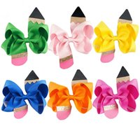 Wholesale School Accessories - Multicolor Girls Grosgrain Ribbon Pencil bow hairpins kids cute Barrette children's back to school hair accessory