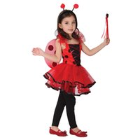 Wholesale Toy Wands - Wholesale-Kids costume sets Ladybug cosplay toy Halloween costumes girl models included Butterfly wings Dress Magic wand Head buckle