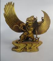 águila de latón antiguo al por mayor-Escultura antigua de 10 pulgadas, antigua estatua cobrable de latón tibetano de águila Dios