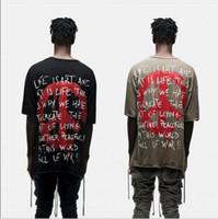Wholesale Freedom T Shirts - World Peace Freedom Print Short Sleeve T shirt Harajuku Hipster KhakiBlack Hip Hop Urban Oversized Designer Graphic Tee Kpop shirts for men