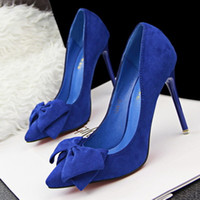 Wholesale High Heels Black Bow - Female High heels High-heeled Suede Shallow mouth Pointed Hollow Bow Single shoes sweet Coral cashmere High heels Free Shipping