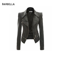 Wholesale Leather Cropped Woman Biker Jacket - AJ New Arrival 2016 Brand Silm Zipper Black Short Motorcycle Cropped Biker Jacket Women Casual Turn Down Collar Coats Jackets45