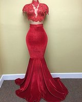 Wholesale Bright Carpet - Bright Red 2 Piece Prom Dresses High Neck Sheer Neck Mermaid Evening Dresses Velvet Sheath Celebrity Dresses for Red Carpet 2017