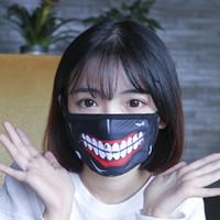 mascarillas divertidas al por mayor-Al por mayor-1 pieza de Tokio Ghoul Kaneki Ken Horror Halloween Cosplay máscara de algodón de invierno Funny Warm boca máscara antipolvo con cremallera D059