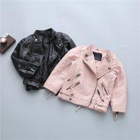 jaquetas de couro rosa preto venda por atacado-Meninas Jaqueta de Couro Macio Outono Zíper Casaco para Moda Crianças Outerwear Preto Rosa Crianças Jaquetas