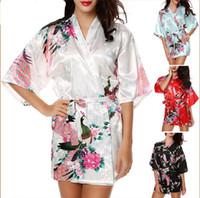 5b342f6116 Vendita calda seta raso da sposa sposa damigella d'abito breve kimono notte  accappatoio floreale accappatoio vestaglia per le donne 13 colori