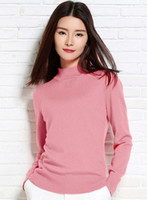 Wholesale Half Sweaters Sale - Wholesale- 2016 Hot Sales New style womens Half High collar Solid Color cashmere Sweater Knitwear Pullovers High Quality Free Shipping