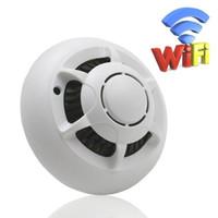 cámaras de grabación activadas por movimiento al por mayor-Detector de humo mini cámara IP WiFi HD 720P Cámara de niñera con grabación de audio y video activada por movimiento para UFO de vigilancia de seguridad en el hogar