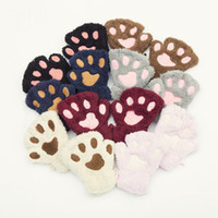 Wholesale gloves cat cosplay for sale - Women Girls Colors Winter Warm Fluffy Plush Mittens Cat Bear Paw Claw Glove for Party Cosplay