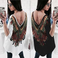 Wholesale 2017 Summer New Fashion Women s Animal Printed Long T Shirt V neck Casual Blouse Ladies Loose Cotton Embroidery Shirt