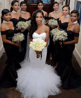 Wholesale Black Gray Wedding Gowns - Black Bridesmaid Dresses 2017 Off Shoulder Mermaid Satin Cap Sleeves Beaded Belt Wedding Guest Formal Dress Gowns for Maid of Honor Cheap