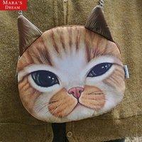 Wholesale Pussy Body - Wholesale-Large 3D Pussy Cat Face Head Printed Shoulder Bag Handbag Purse Chain Bag