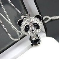 Wholesale Silver Panda Wholesale - Really nice!Shiny PANDA necklace!!shiny rhinestone super charm panda necklace jewelry Cute awesome panda pendant necklaces wholesale