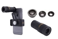 Wholesale Iphone5 Fish Eye - Universal 9x Mobile Phone Lens 9X Optical Zoom Telescope lens Fish Eye Wide Angle Macro Lenses For iPhone5 6S 6Plus 7 for Samsung
