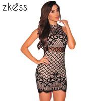 sexy robe courte en spandex noir achat en gros de-Robe noire en dentelle courte maigre sexy évider élégant mince Midi Club Party Womens robe moulante O cou Floran dentelle LC22736 17414