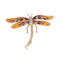 Insect Series High Grade Women Alloy Personnalité Pain en émail Rhinestone Broches Pins Dragonfly Corsage Girl Accessoire