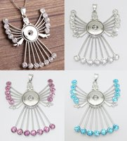Wholesale fairy angel pendant resale online - 3 Colors Mix Fashion cm Link Chain Noosa Chunks Metal Ginger Rhinestone Angel Fairy mm Snap Buttons Pendant Necklace Jewelry