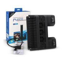 зарядное устройство для док-станции оптовых-Многофункциональный вертикальный держатель подставки Dual USB Port Charger Зарядка док-станции Подставка Base с 3 охлаждающими вентиляторами для PS4 / Pro / Slim