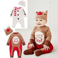 Wholesale Toddlers Winter Animal Hats - Toddler kids Christmas romper Ins baby kids cute reindeer letter long sleeve romper+hat 2pcs sets christmas moose printed jumpsuits A00061