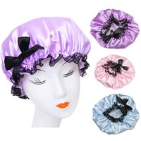 Wholesale Waterproof Spa Hats - Wholesale- Women Waterproof Elastic Lace Shower Bouffant Hair Bath Cap Hat Spa Protect