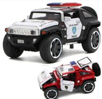 1/32 Scale Hummer Police Diecast Vehicles Model Cars Brinquedos com portas Openable Pull Back Função Light Music For Boys Gifts